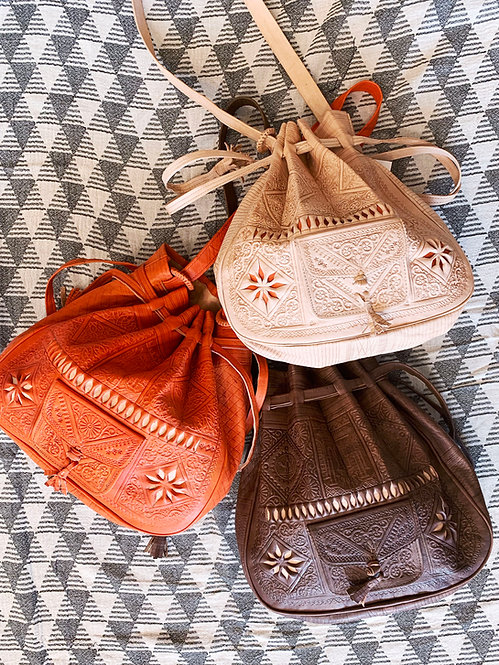 Leather Drawstring Bucket Tote