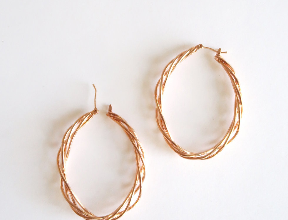 Braided Hoop Earring | Rose Gold