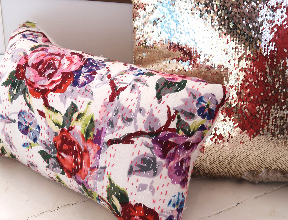VB | Rose Kantha Pillow