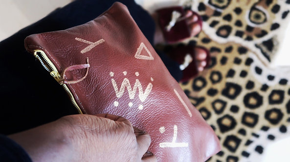 VB | Hand Painted Leather Clutch