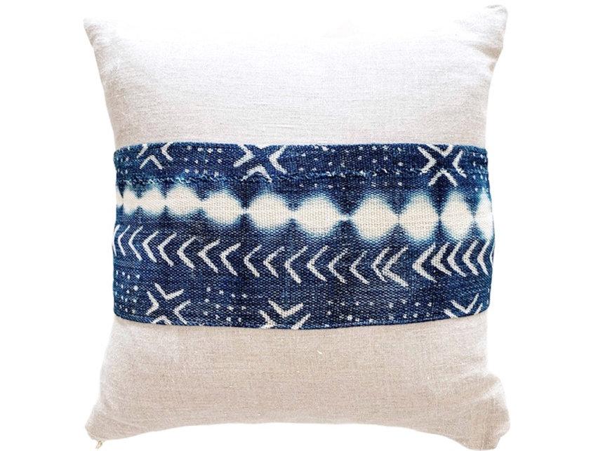 VB   Indigo and Linen  Pillow