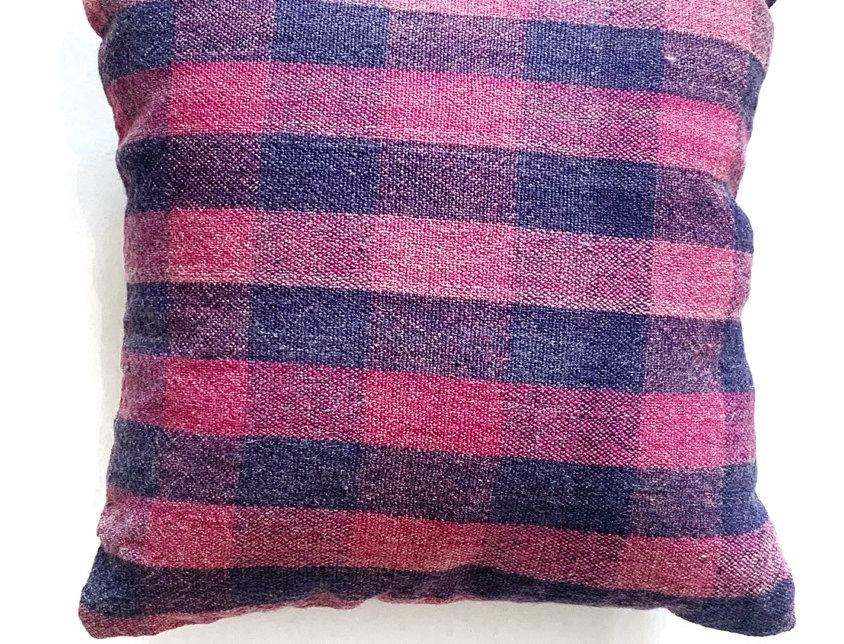 Purple Plaid Dhurrie Pillow