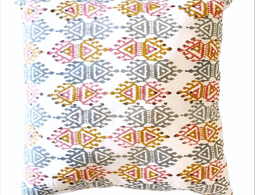Double Ikat Block Print Pillow
