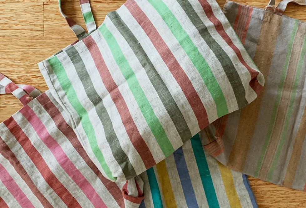 Linen Stripped Totes