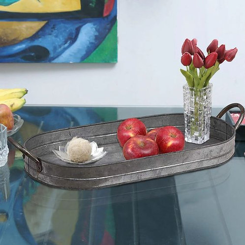 Galvanized Oblong Metal Tray With Ear Handles