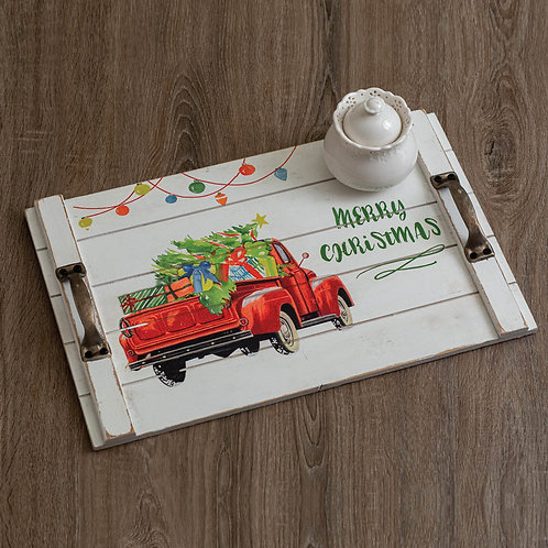 Wooden Christmas Truck Tray