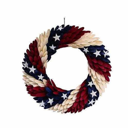 "Wood 18"" Multi 4th of July Patriotic Wreath"