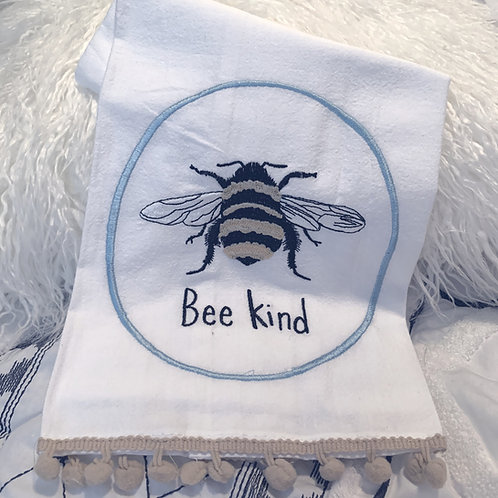 Bee Kind Embroidered Tea Towel