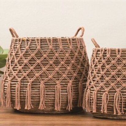 Natural Seagrass with Tassels Basket Set of 2
