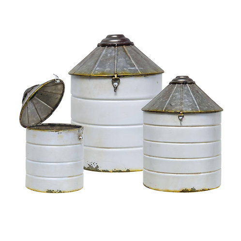 White Silo Canisters - Set of 3