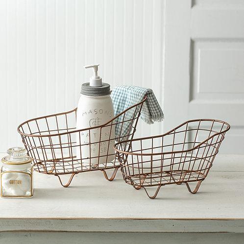 Set of Two Copper Finish Bathtub Baskets