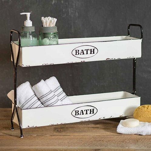 White Two-Tier Bath Caddy