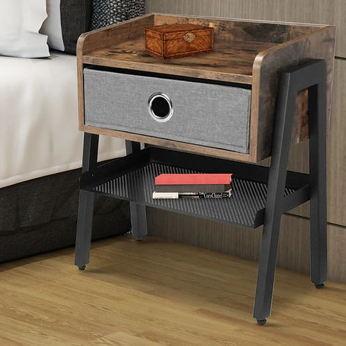Wooden Nightstand With Fabric Removable Drawer And Metal Mesh Shelf