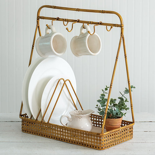 Metal Bamboo Dish and Mug Rack