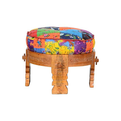 Hand Carved Wooden Round Ottoman With Cushioned Top Multicolor