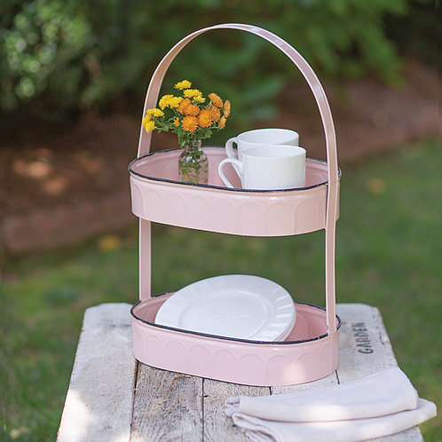 Two-Tiered Oval Pink Tray