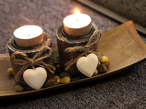 Wooden Candle Holder with Heart-shape Design