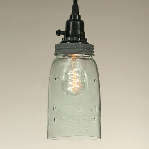 Quart Open Bottom Mason Jar Pendant Lamp - Barn Roof