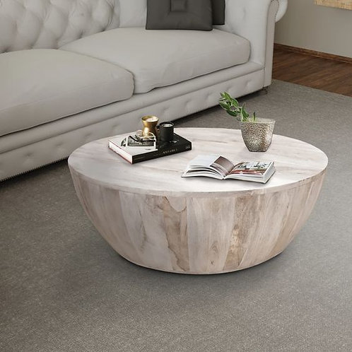 Distressed Mango Wood Coffee Table In Round Shape