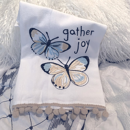 Gather Joy Embroidered Tea Towel