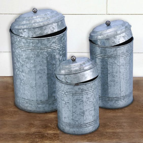 Galvanized Metal Lidded Canister With Oxidized Ball Knob, Set Of 3