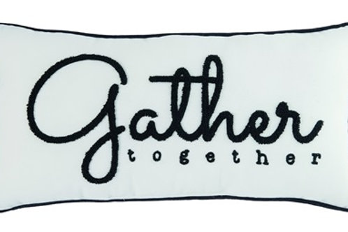 Gather Together Embroidered Pillow