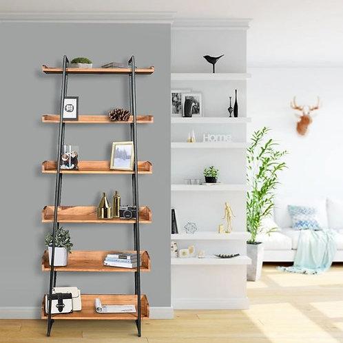"""74"""" 6-Tier Wooden Ladder Storage Bookshelf With Metal Frame"""