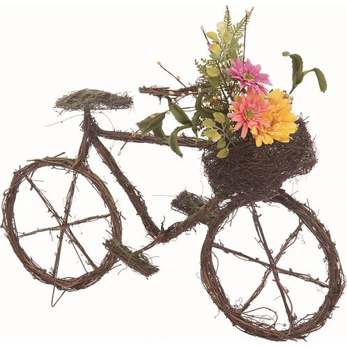 "Wood 22"" Brown Spring Twig Bicycle with Bouquet"
