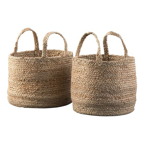 Interwoven Braided Design Jute Basket With Curved Handles