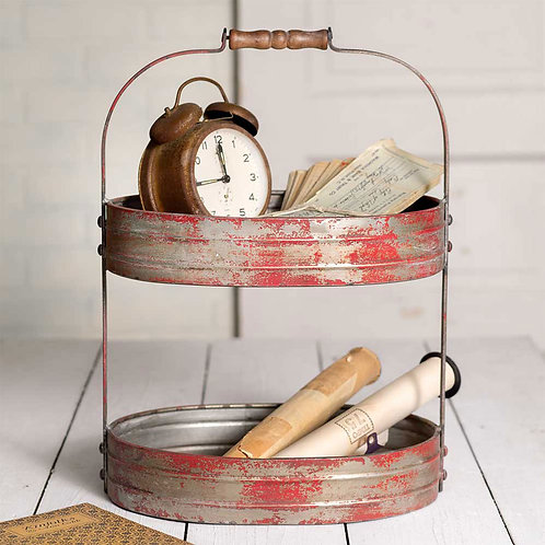 Two-Tier Red Serving Caddy