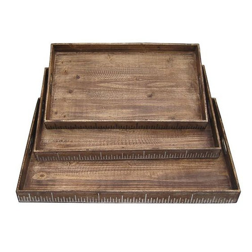 Rough Sawn Textured Rectangular Wooden Ruler Trays