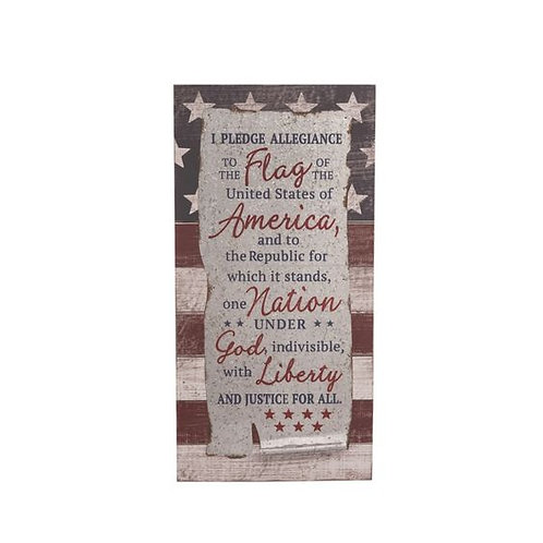 Wood 24 in. Multicolor 4th of July Pledge of Allegiance Wall Décor