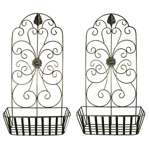 Metal Wall Decor With Intricate Design And Wired Baskets