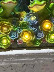 Frogs in Flower Garden Solar Art