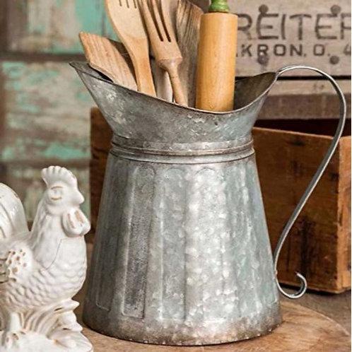 Vintage Style Galvanized Metal Milk Pitcher