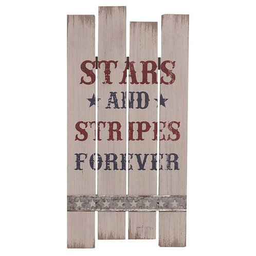 Wood 19 in. Multicolor 4th of July American Slat Corrugated Sign