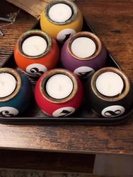 Pool Ball Candle Holders