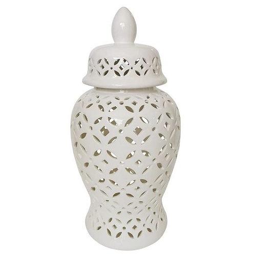 "24"" Urn Shape Glass Jar With Cut Out Trellis Pattern"