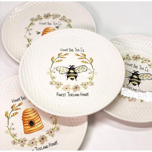 Honey Bee Tea Co. Ceramic Plates (Set of 4)
