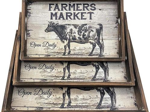 Farmer's Market Wooden Tray Set