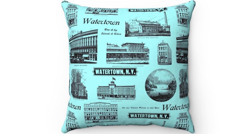 Historic Watertown Pillow Blue