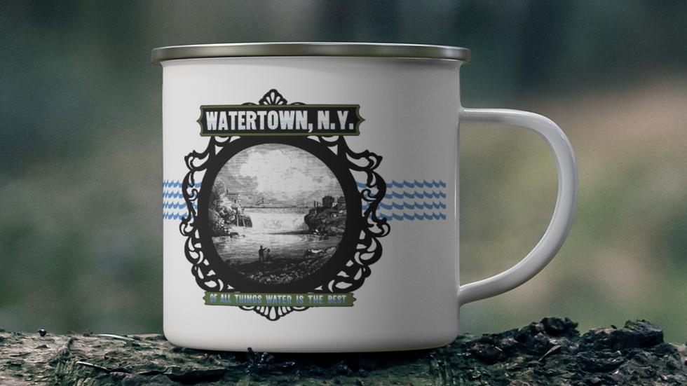 Historic Watertown NY Enamel Mug