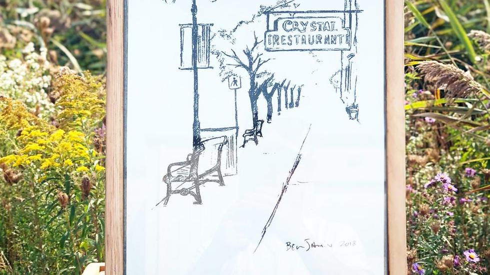 Silk screen Print - Crystal Restaurant Watertown NY, - by Ben Plante