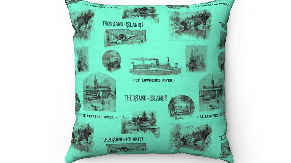 Historic Thousand Islands Pillow Teal