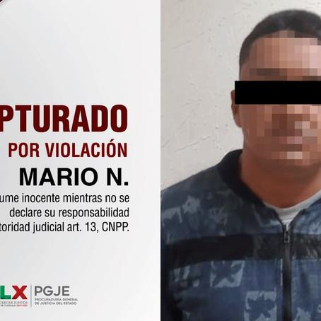 CAPTURA PGJE A IMPUTADO POR VIOLACIÓN EN AGRAVIO DE SU HIJASTRA