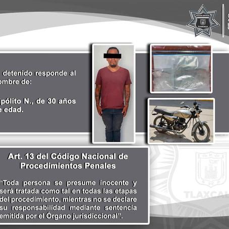 POLICÍA ESTATAL DETIENE EN CHIAUTEMPAN A UNA PERSONA POR POSESIÓN DE DROGA