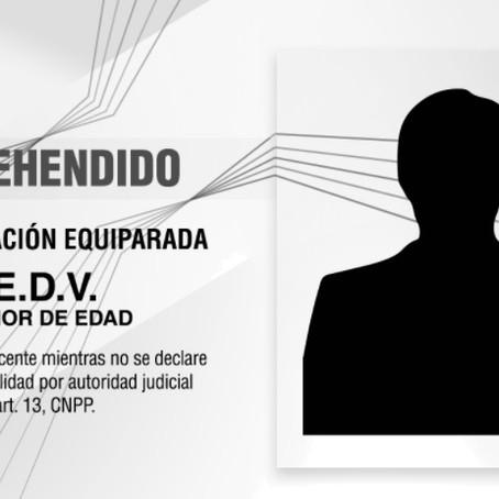 APREHENDE PGJE A MENOR DE EDAD POR VIOLACIÓN EQUIPARADA