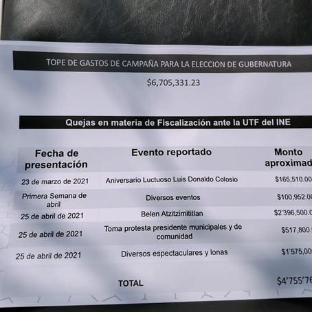CAMPAÑA CUÉLLAR HA COSTADO MÁS DE 2 MDP Y DE ÁVALOS MÁS DE 1 MDP