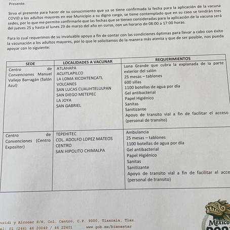 TLAXCALA VACUNA ADULTOS MAYORES DEL 25 AL 29 DE MARZO, SECRETARÍA DEL BIENESTAR