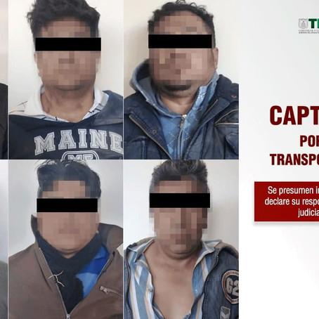CAPTURA PGJE 6 INTEGRANTES DE BANDA DELICTIVA DEDICADA AL ROBO DE UNIDADES DEL TRANSPORTE PÚBLICO